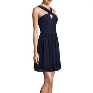 L'AGENCE Navy Strap Silk Dress 4
